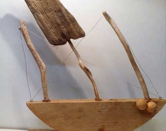 Unique Handmade Driftwood Boat Nautical Ornament - 'Coming In'