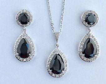 Black Wedding Crystal Set Black Bridal Cubic Zirconia Jewelry Set Black Teardrop Halo Rhodium Set Black Crystal Bridesmaid Jewelry Set