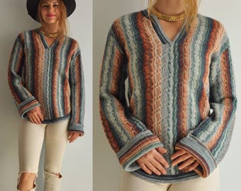 Vintage 70s Space Dye Bell Sleeve Cable Knit Tunic Sweater // Multi Color // Bohemian Boho Hippie Festival