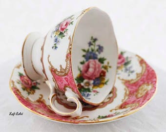 "Sweet pink Royal Albert's ""Lady Carlyle"" teacup and saucer adorable pink scenery malvern shape 