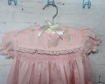 Vintage Baby Clothes, Vintage Baby Girl Dress, Pink Dress with Ruffles and Lace Size 3-6 Months, Doll Clothes, Reborn Doll Clothes