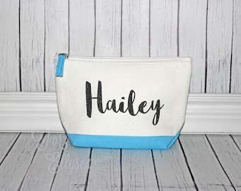 Light Blue Color Dipped Canvas Cosmetic bag - Bridesmaid gift - Personalized