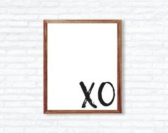 XO Wall Printable | Girly Wall Art | Digital Wall Art | XOXO | Black and White Wall Art | Instant Download | XO Wall Decor | Trendy Wall Art