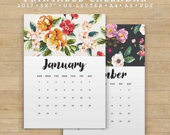 2017 Calendar Printable, Floral Calendar Printable Planner 2017 PDF, A4 UsLetter A5 Calendar Printable Wall Calendar Flower Instant Download