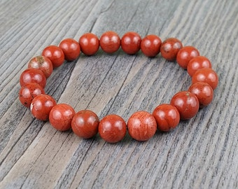 Hand made bracelet red jasper 8mm