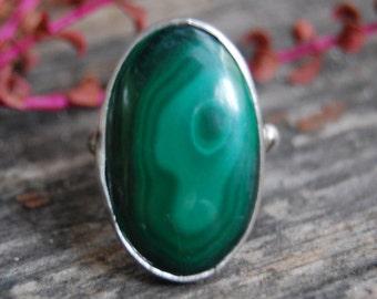 Vampire Ring Gothic Emerald Malachite - Handmade Silver Boho Ring