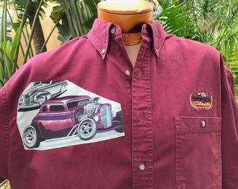 Hot Rod Shirt Rat Rod Shirt Rockabilly Daytona Chopped Channeled Vintage Car Rare Fabric Eco Size Large