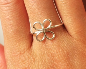 Clover Ring ~Luck of the Irish Four Leaf Clover Ring ~St. Patrick's Day ~14K Gold /Rose Gold-Filled /Sterling Silver ~ADJUSTABLE
