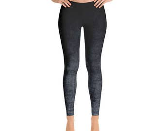 Grunge Leggings - Gray and Black Stretch Pants, Ombre Yoga Leggings