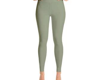 Artichoke Green Leggings - High Waisted Yoga Pants for Women, Yoga Bottoms