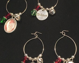 Believe Christmas Wine Glass Charms - Set of 4 (#7823)