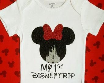 Disney Shirts | My First Disney Trip shirt | Minnie mouse shirt Disney family shirts baby girl clothes baby girl outfit  toddler girl outfit