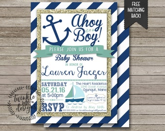 nautical baby shower invitation ahoy itu0027s a boy blue and gold navy blue
