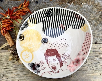 Large I love Lucy handmade organic ceramic bowl