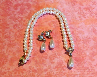 Vintage Faux Pearl Necklace and Earring Set