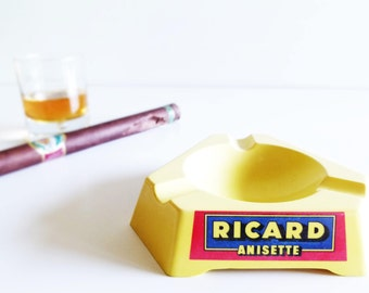 1 Vintage lemon yellow ashtray Picard Anisette '70s - vintage ashtray - Picard ashtray - french ashtray - booze ashtray - Picard Anisette