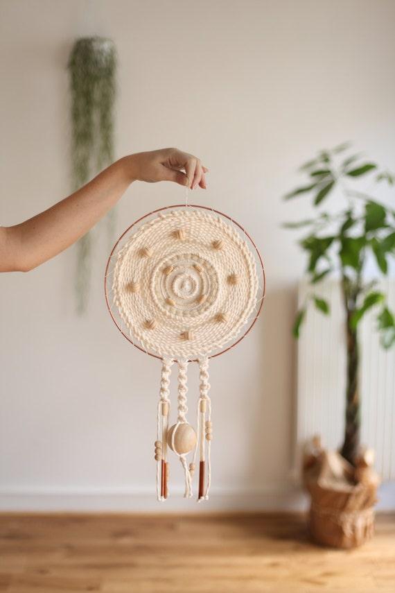 Tissage en laine rond tenture murale circulaire tissage fait for Decoration murale fait main