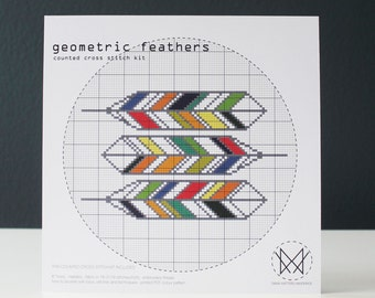 Geometric Feathers - Modern Counted Cross Stitch Kit - DIY Cross Stitch Kit