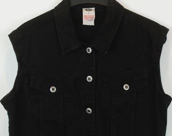 Vintage vest, jeans vest, black denim, short, oversized