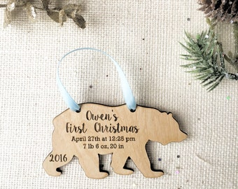 Bear Baby's First Christmas Ornament - personalized Wooden Ornament - new baby gift - birth details - stocking stuffer gift