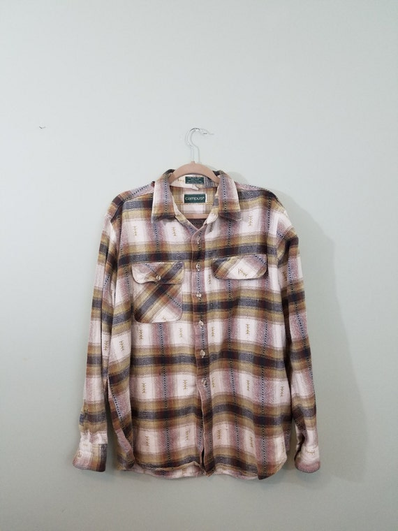 1980s Heavyweight Cotton Flannel / Vintage Men's Button Down / White, Tan, Red, and Grey / Modern Size Extra Large XL to XXL