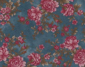 Journey to Versailles - Per Yd - Henry Glass - Mary Jane Carey -  Lg Floral on Blue