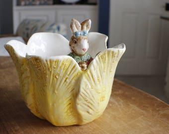 Pretty Girl Bunny Rabbit Peeking Out of Yellow Tulip Bowl