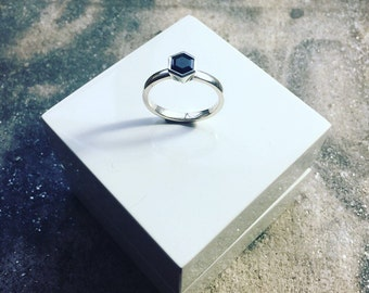 Silver Hexagonal Sapphire Ring
