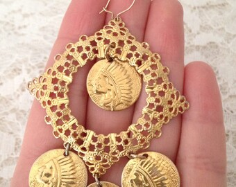 gold chief vintage chandelier earrings
