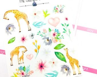 Spring Giraffe Deco | Planner Stickers, Weekly Kit, Spring Weekly Kit, Decorative Boxes, Vertical Planner Kit, Full Weekly Kit