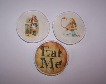 Alice in Wonderland brooch.  Flamingo, drink me, eat me, lapel pin,badge.  Gift for her, birthday gift teacher gift, quirky gift, handmade