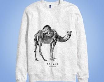 Sweatshirt gris: dromadaire TENACE (resolute, tenacious, persevering) chameau de Bactriane (Arabian camel) animal totem 2016 illustration