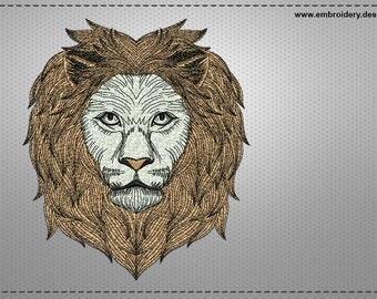 Clever lion embroidery design – 3 sizes - downloadable