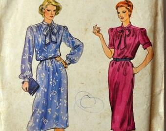 Uncut 1980s Vogue Vintage Sewing Pattern 7740, Size 12; Misses' Dress