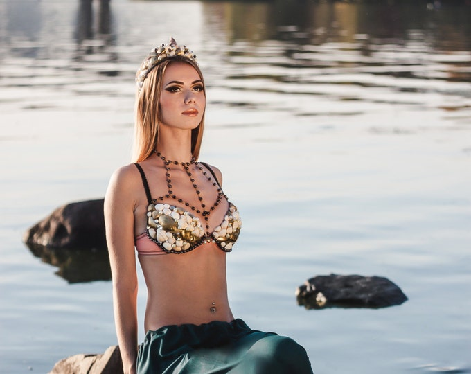 Gold Brown Mermaid Rave Bra Top Crown Tiara Wedding Bridal Set Costume Dance Shell Beaded Sea Beach party Queen Princess Festival Cosplay
