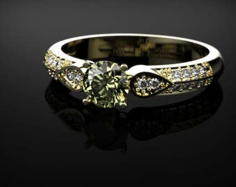 Peridot Ring Yellow Gold Ring Peridot Engagement Ring Peridot Engagement Ring Gemstone Ring Peridot Ring August Birthstone Ring