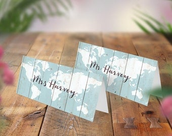 Wedding Place Cards, Guest Names, Table Decor, Place Setting, Wood effect, Rustic Decoration, Boho Signs, Vintage Wedding, Blue Tent Cards