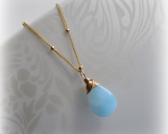 Larimar Necklace, Gold Larimar Necklace, Gift for Her, Gold Larimar Jewelry, Blue Larimar Pendant, Handmade Gemstone Necklace, Blissaria