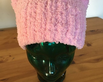 Pussy Hat.  Soft Fuzzy Pale Pink, Our biggest seller! THICK KNIT not crocheted. Seamed at top so ears stand up!