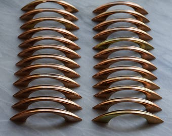 Mid Century Copper Cabinet Drawer Pulls - Set of 12-  Vintage Mid Century Cabinet Hardware by Washington