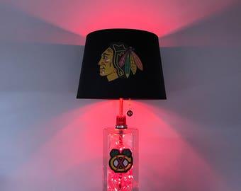 Chicago Blackhawks, NHL, Hockey Lamp, lamps, glass block, man cave, kids night light, sports light