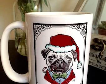 Christmas Pug Coffee Mug, Handmade mug, Dog Christmas gift, Gift for dog lover, Cute animal, Bah hum Pug, Funny gift , Custom Mug, Pug life
