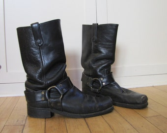 1980's Engineer Harness Boots, Motorcycle Boots, Men's 8, Women's 9, Black, Leather, Harness, Rocker, Broken In, Vibram, Made in USA