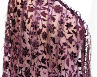 Jasmine Floral Burnout Cut Velvet Shawl Scarf Wrap Topper Fringe Purple Brown