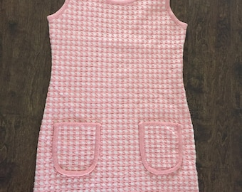 VINTAGE 90's Sleeveless Chequered Knee Length Dress, Pink and white, Small/Medium