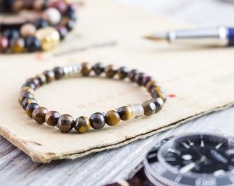 6mm - Tiger eye beaded stretchy bracelet, yoga bracelet, mens bracelet, womens bracelet, bead bracelet, casual bracelet