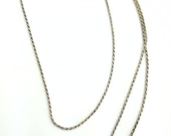 Thin Vintage Italian Sterling Silver Spiral French Rope Chain- 23.5 Inch Length