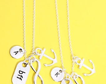 Best friends anchor necklace, bff set of 2, bff necklace, friend necklace, friendship jewelry, friends, bff charm necklace, best friends BFF