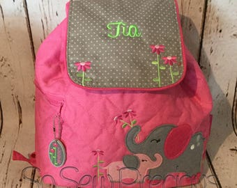 Stephen Joseph Backpack, School Nursery Bag, Personalised, Embroidered, Girl Pink, Elephant, personalized Bag
