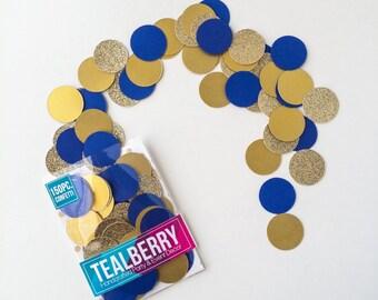 """Royal Blue, Gold, & Gold Glitter Confetti - 150 Piece - 1"""" Circles - Paper Confetti - Ready to Ship"""